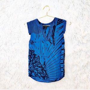J. Crew palm print silk blouse